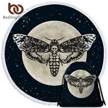 Постельное белье Outlet Death Moth круглое пляжное полотенце Готический Череп полотенце большое для взрослых бабочка Toalla кисточкой Луна галактика коврик для пикника