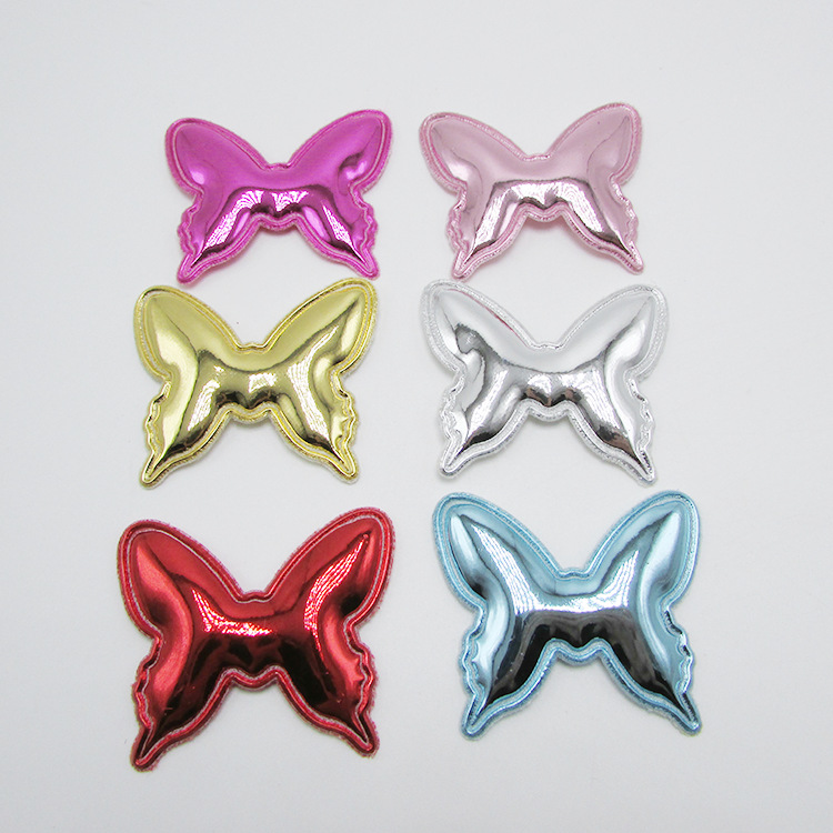 30pcs 5x4cm Pu Felt Butterfly Padded Appliques For Clothes Sewing Supplies DIY Hair Bow Decoration