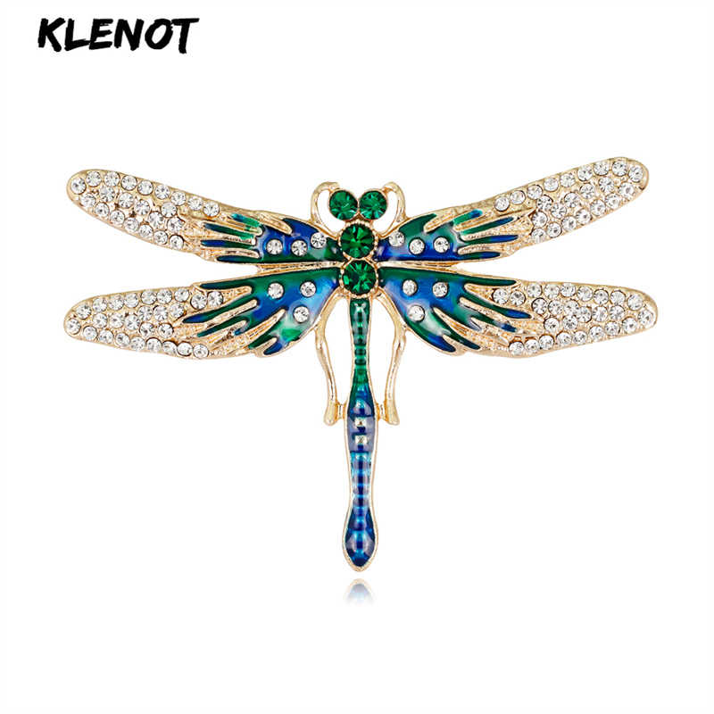 Enamel Dragonfly Brooch Green Crystal Brooches for Costume Women Party Decoration Pin Wedding Christmas Jewelry New Year Gift