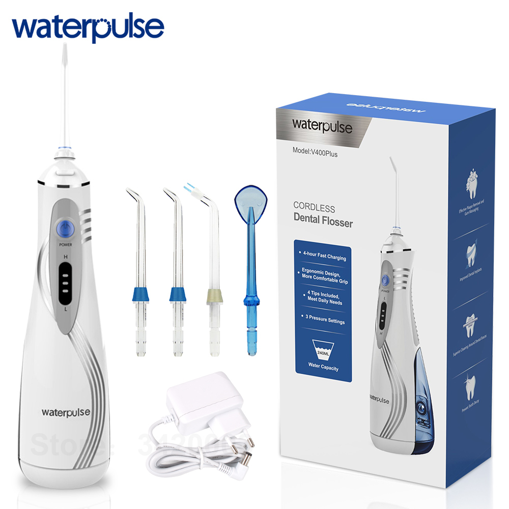 Waterpulse V400 Plus New Portable Cordless Water Flosser Oral Dental Irrigators Oral Irrigation With Tips Dental