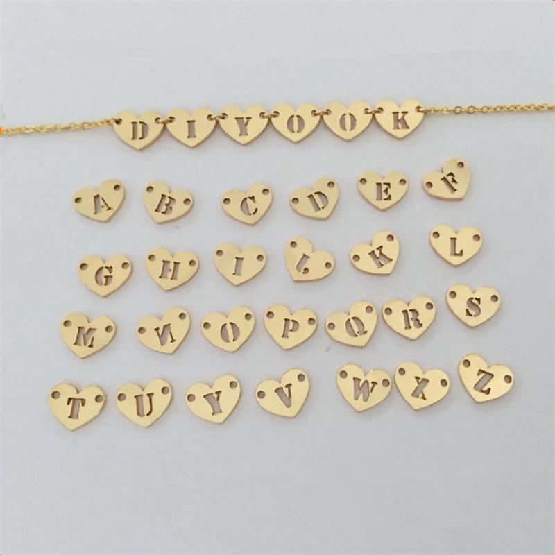 PINJEAE Gold Fillied Heart 26 English Letter Cutout Double Buckle Pendant For Diy Handmade Necklace Bracelet Jewelry Findings