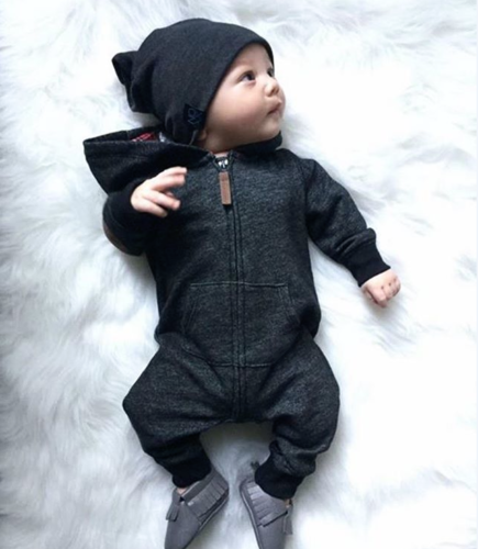 2019 Newborn Kids Baby Boy Baby Girl Warm Infant Zipper Cotton Long Sleeve Romper Jumpsuit Hooded Clothes Sweater Outfit 0-24M 3