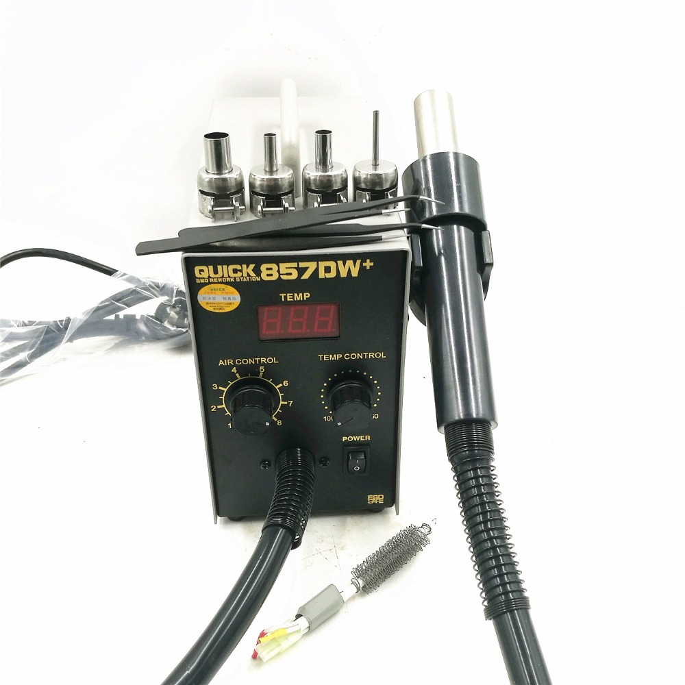 QUICK 857DW  Lead Free Adjustable Hot Air Heat Gun With Helical Wind 580W SMD Rework Station With 4 Air Nozzles