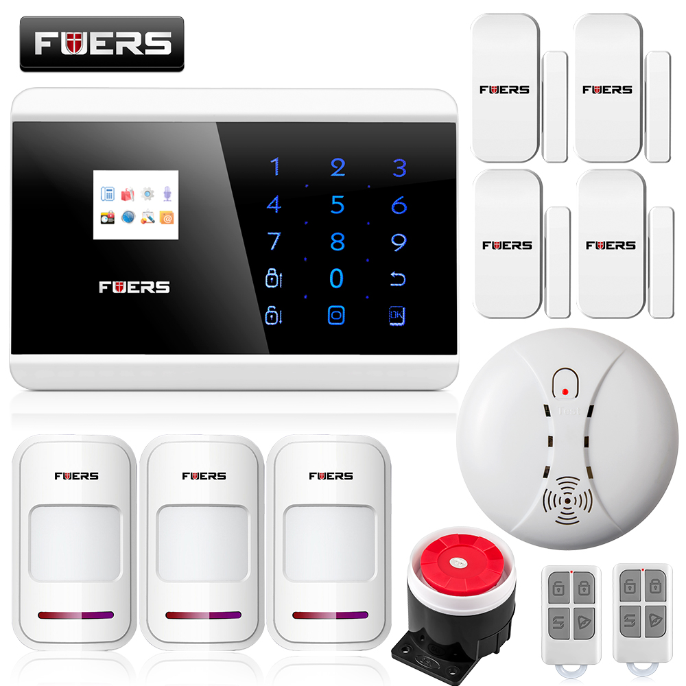 Fuers Quad Band GSM PSTN Burglar Security Alarm System Wireless App Control High-grade Door Sensor Motion Detector Alarm kit fuers smart app control wireless wired home gsm sms security alarm system auto dial with infrared detector door open reminder