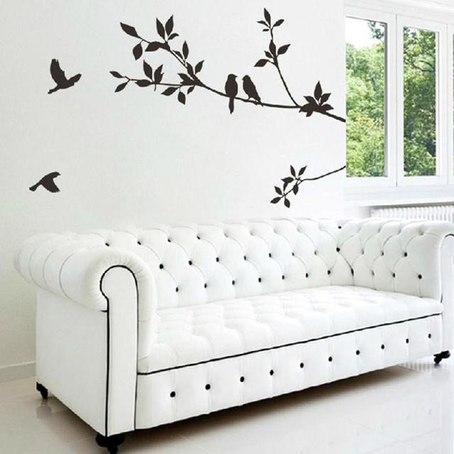 New design removable vinyl black leaves birds flying wall sticker art decal pvc wallpaper diy home