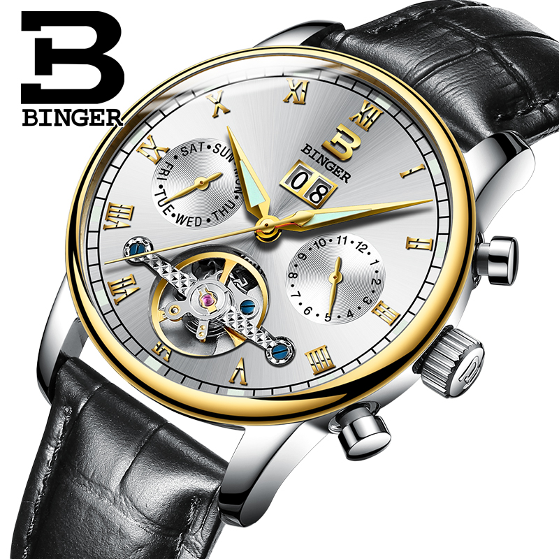 ФОТО Switzerland BINGER watches men luxury brand Tourbillon fulll stainless steel water resistant Mechanical Wristwatches B-8604-8