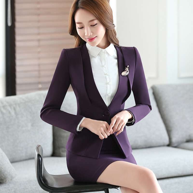 Gray-Two-Piece-Ladies-Formal-Skirt-Suit-Office-Uniform-Designs-Women-Business-Suits-for-work (1)