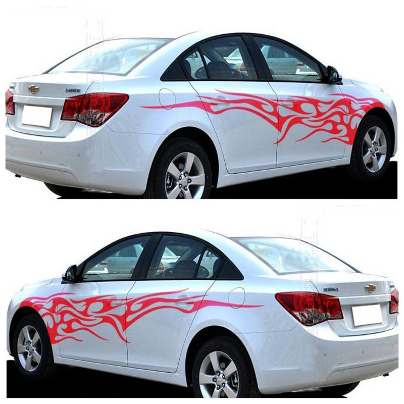 Pair Universal Fire Flame Car Stickers Car Styling Vinyl Decal - Vinyl designs for cars