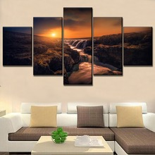 Wall Artwork Picture 5 Piece Living Room Or Bedroom Decorative Nature Rocks Waterfall Poster Modern Canvas Print Type Painting 5 piece blue sky nature rocks road landscape picture top rated canvas print type wall decor valley of fire state park poster