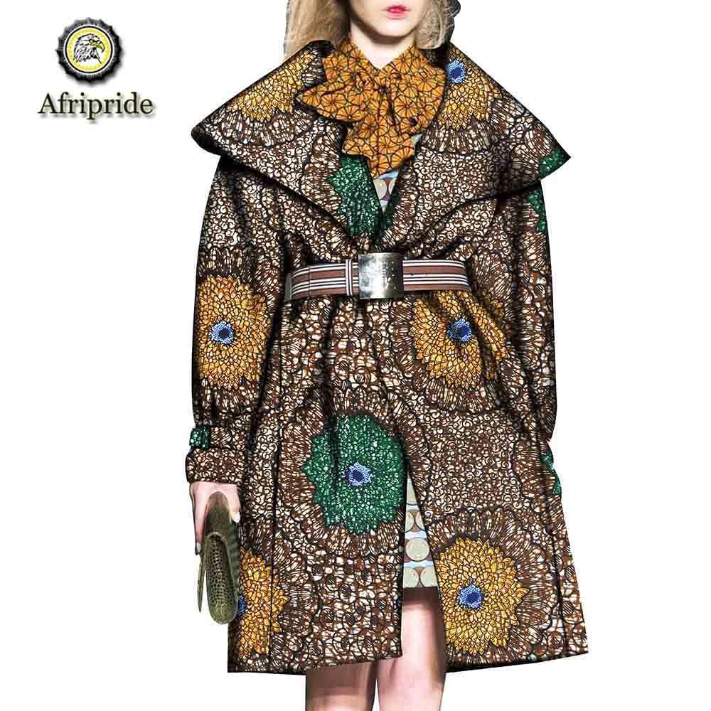2019 afrikaanse jassen voor vrouwen AFRIPRIDE bazin riche ankara afdrukken puur katoen prive custom wax batik sjerpen jassen S1824020-in Eenvoudige Jassen van Dames Kleding op  Groep 2