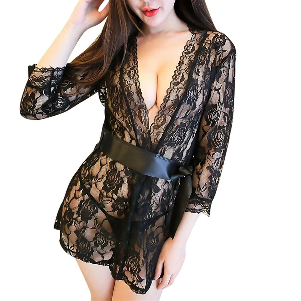 Newest Women Sexy Lace Robe Dress Breathable Lace G-String Dress Bathrobes Pajamas Sleepwear Nightdress Robe D10