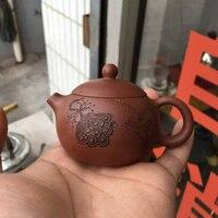 新しいファイン80ミリリットル/130ミリリットルミニ鉄釜鋳鉄ティーポット小鍋のゴールドカンフー茶セット茶ペットホーム装飾ギフト×ド