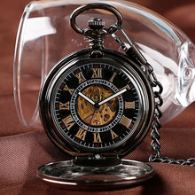 Luxury Skeleton Vintage Black/Silver/Bronze Exquisite Pendant Roman Numerals Automatic Mechanical Self Wind Men Pocket Watch