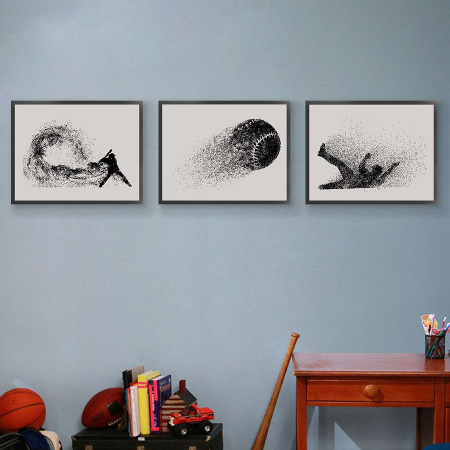 Baseball Player Silhouette Print Wall Pictures Abstract