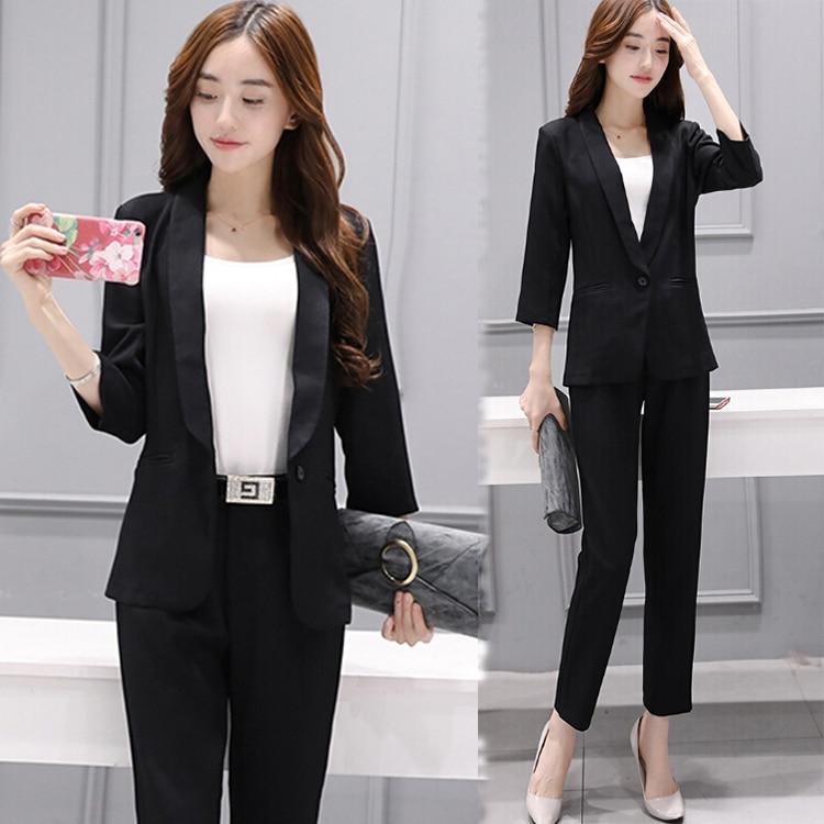korean fashion women blazer pants suits autumn new business costume women 39 s leisure two piece. Black Bedroom Furniture Sets. Home Design Ideas