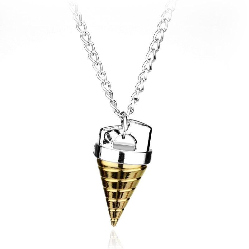20 PCS/Lot Gurren Lagann Core Drill Necklaces Pendants Silver Gold Spike Cone Pendant Necklace Wholesale
