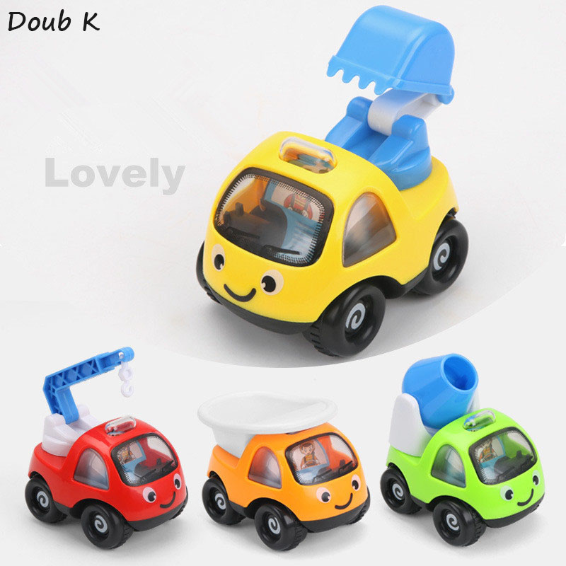 Doub k 4 unids/paquetes de colores de dibujos animados mini modelo de coche iner