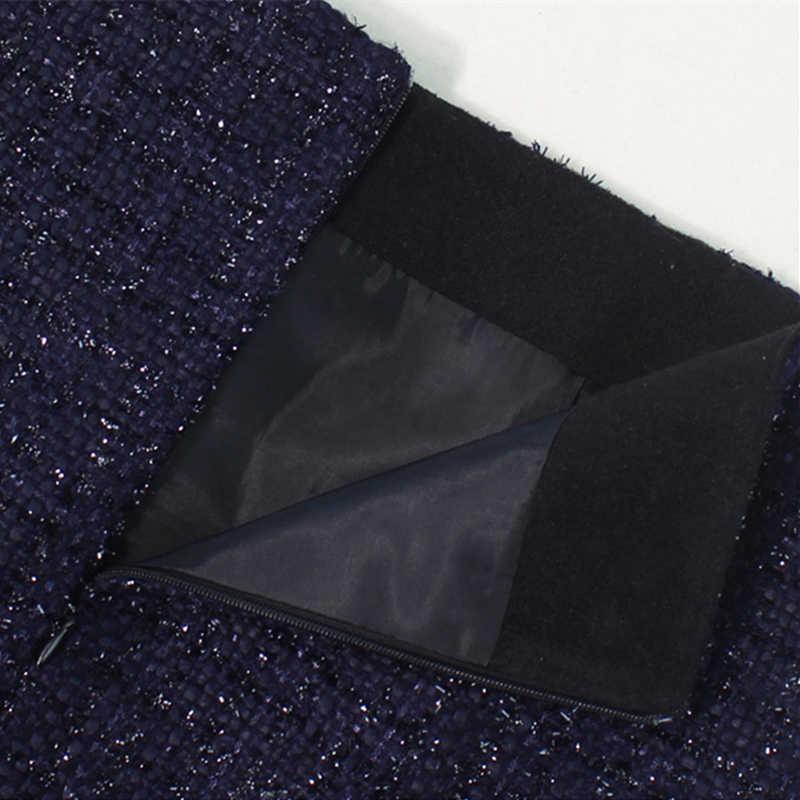 Flectit jesień zima 2019 Plaid wełniana spódnica damska królewska kieszeń na guzik przód Plus rozmiar brokat Tweed Mini spódniczka Saia Feminina