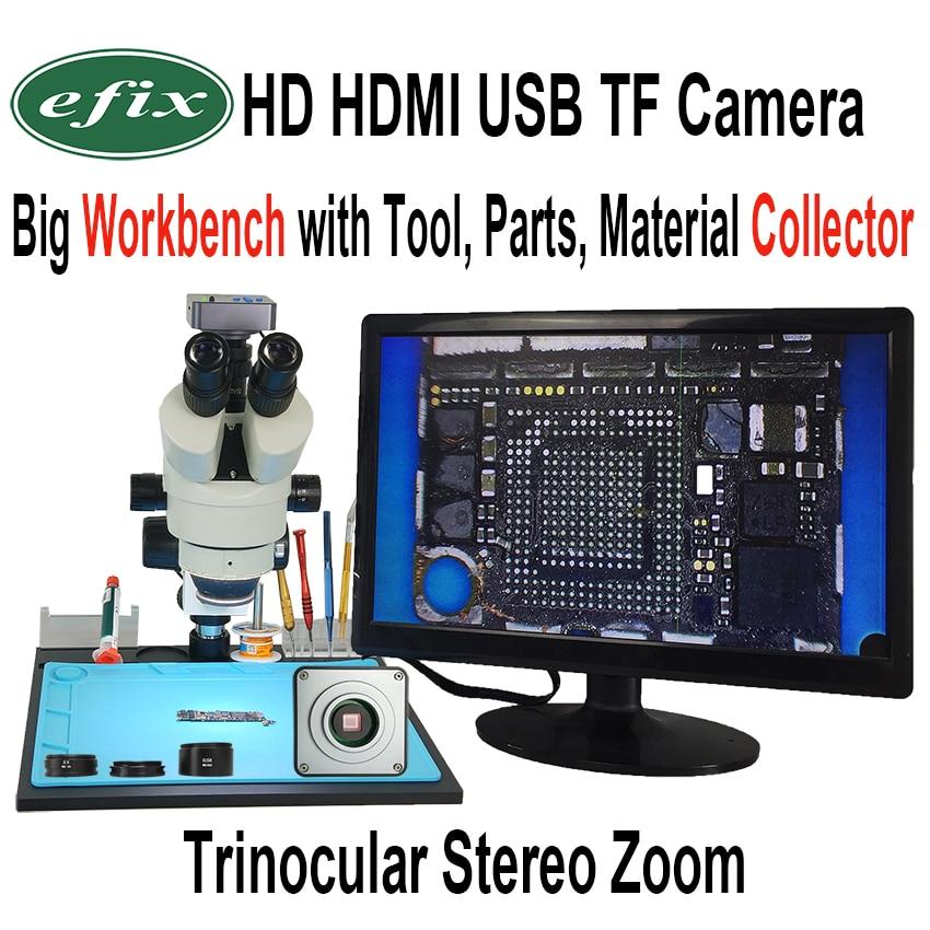 Efix 22MP 3.5-90X À Souder Trinoculaire Stéréo Continue Zoom Microscope HDMI USB TF Workbench pour Réparation iPhone Outils Kits