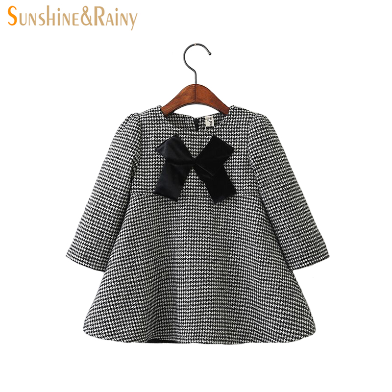 Long Sleeve Dress For Girls Princess Dress Bowknot Plaid Cotton Velvet Party Dress Baby Girls Clothing Autumn Children Dresses warm thicken baby rompers long sleeve organic cotton autumn