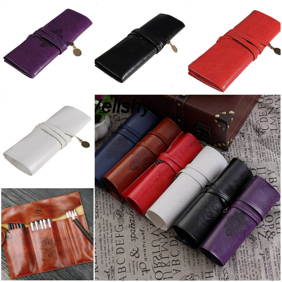 1pc Women Makeup Cosmetic Pen Pencil Brush Bag Case Pouch Vintage Roll Leather Purse