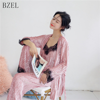 BZEL Autumn Winter Velvet Women's Pajamas Long sleeved Sleepwear Sexy Lace V neck Pijama Femme Sleep Lounge Lingerie Underwear
