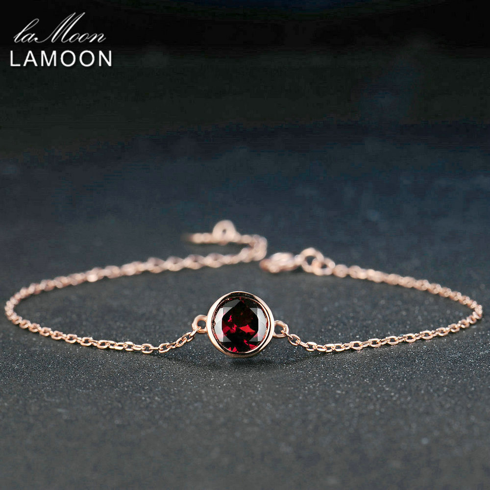 LAMOON 6mm 2.1ct Natural Gemstone Red Garnet 925 Sterling Silver Jewelry  Chain Charm Bracelet S925 LMHI006LAMOON 6mm 2.1ct Natural Gemstone Red Garnet 925 Sterling Silver Jewelry  Chain Charm Bracelet S925 LMHI006