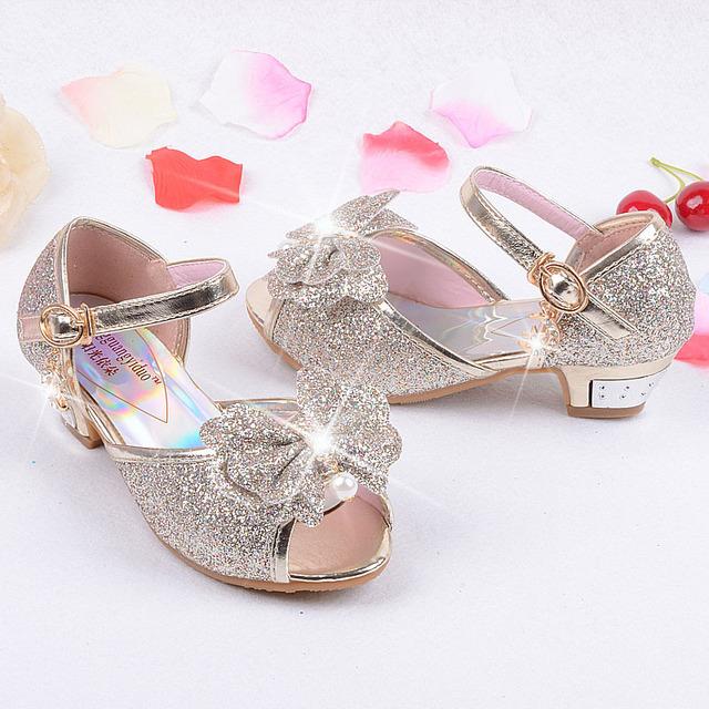 Children sandals princess style party shoes for girls glitter wedding girl sandals crystal High heel shoes Pink gold blue sandal