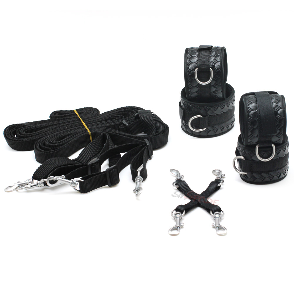 Smspade 2017 Black Pu Bondage Restraints Bedroom Kit -6209