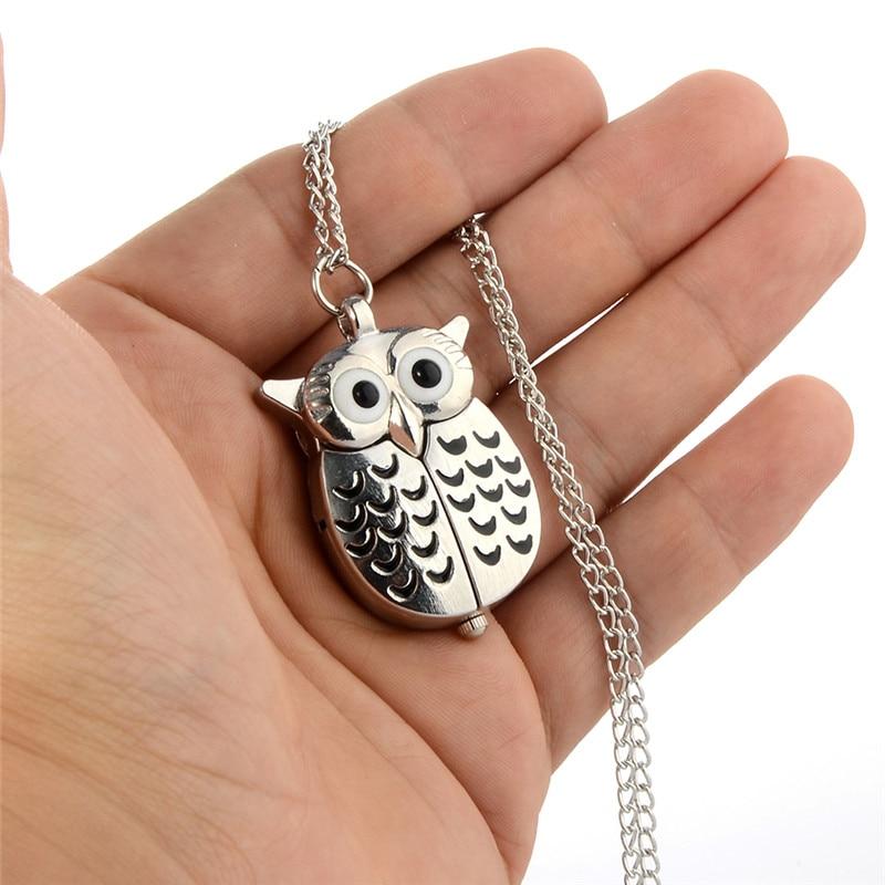 Portable Silver Owl Quartz Pocket Watch Unisex Vintage Pendant Necklace Fob Watches Women Men Classic Clock With Chain Creative