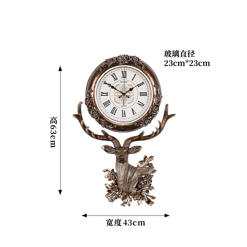 European style clock living room hanging bell deer head creative fashion quartz clock Nordic atmospheric art decorative clock - 6