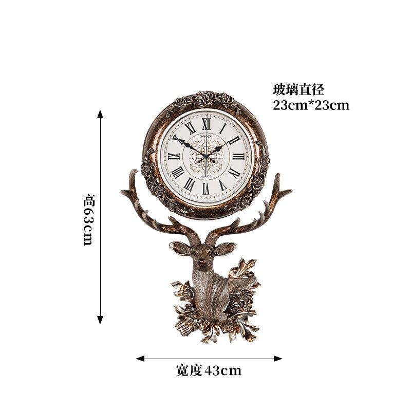 Europeia estilo do relógio sala de estar pendurado sino da cabeça dos cervos moda criativa relógio de quartzo Nordic arte decorativa relógio atmosférica - 6