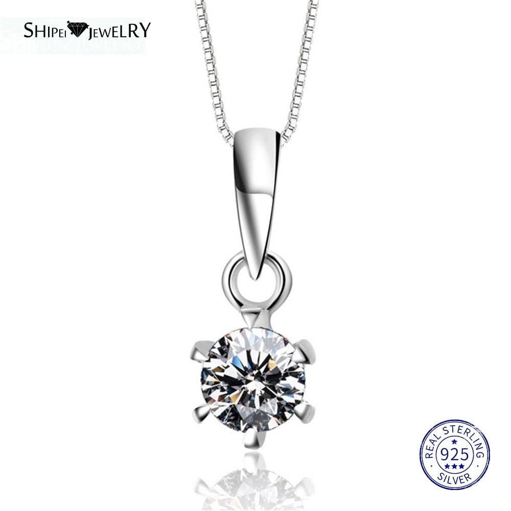 ShiPei 100% 925 Sterling Silver Fine Jewelry Ouro Branco Rodada Criado Moissianite Colar Pingente para Mulheres Presente Do Aniversário