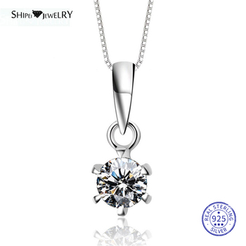 ShiPei 100% 925 Sterling Silver Fine Jewelry White Gold Round Created Moissianite Pendant Necklace for Women Anniversary Gift