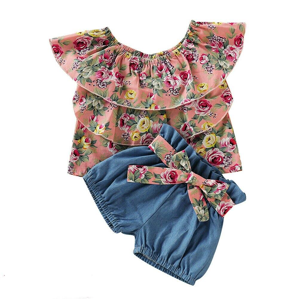1-5y Sommer Kleinkind Kinder Baby Mädchen Floral Layered Bluse Tops Shorts Hose Bottom 2 Pcs Outfits Mädchen Kleidung Set