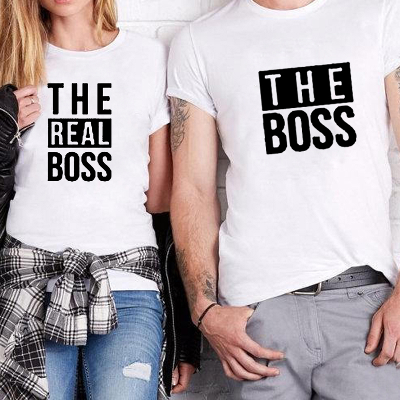 Matching Couple Shirts His And Her Couple T-Shirt Casual Funny Wedding T Shirts The Boss Real Boss T Shirt Anniversary Gift