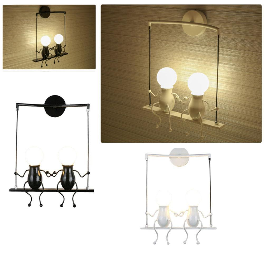 Image 5 - Bedroom Lamp Creative Modern LED Wall Lamp Creative Mounted Iron Sconce Couples Wall Lights Bedroom Corridor Wall Light No Bulb-in LED Indoor Wall Lamps from Lights & Lighting