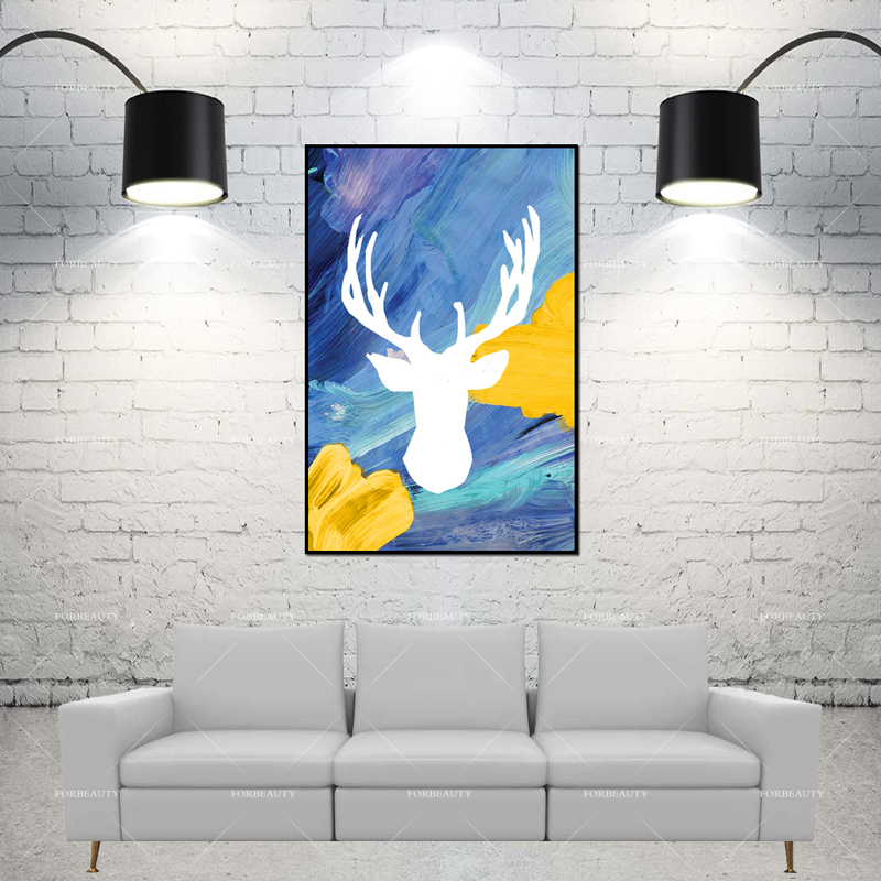 Inner And Outer Design Ideas: Forbeauty Abstract Cervus Canadensis Elk Canvas Painting