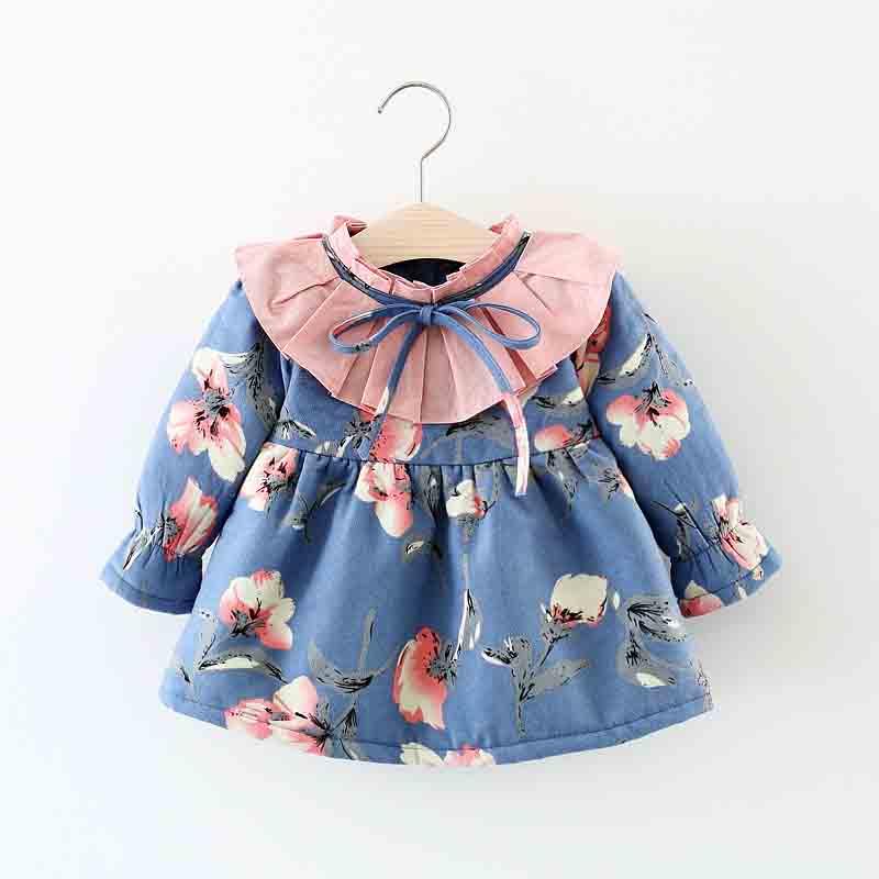 BibiCola/куртка для маленьких девочек коллекция года; сезон осень-зима; Новая Модная хлопковая верхняя одежда для маленьких девочек бархатная куртка для малышей подходит для От 0 до 2 лет - Цвет: blue
