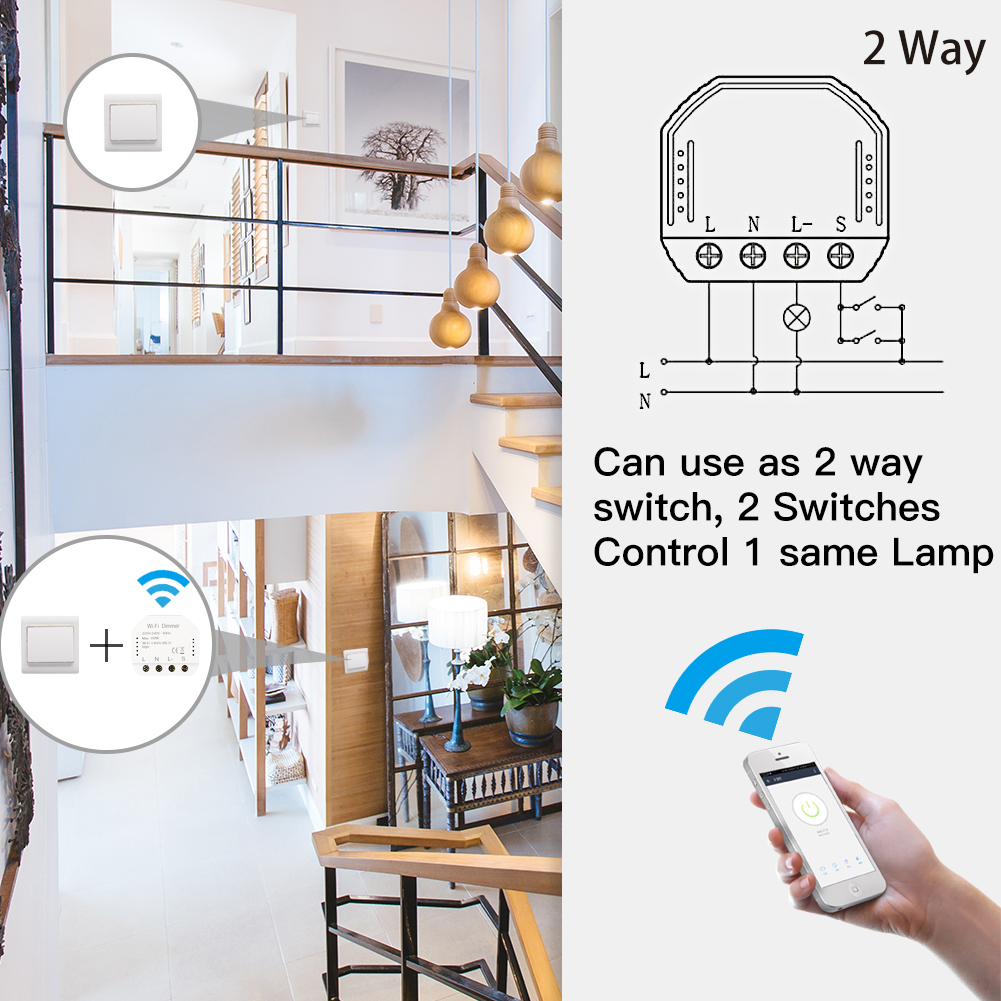 Bricolage Smart WiFi lumière LED gradateur interrupteur vie intelligente/Tuya APP télécommande 1/2 commutateur de manière, fonctionne avec Alexa Echo Google accueil