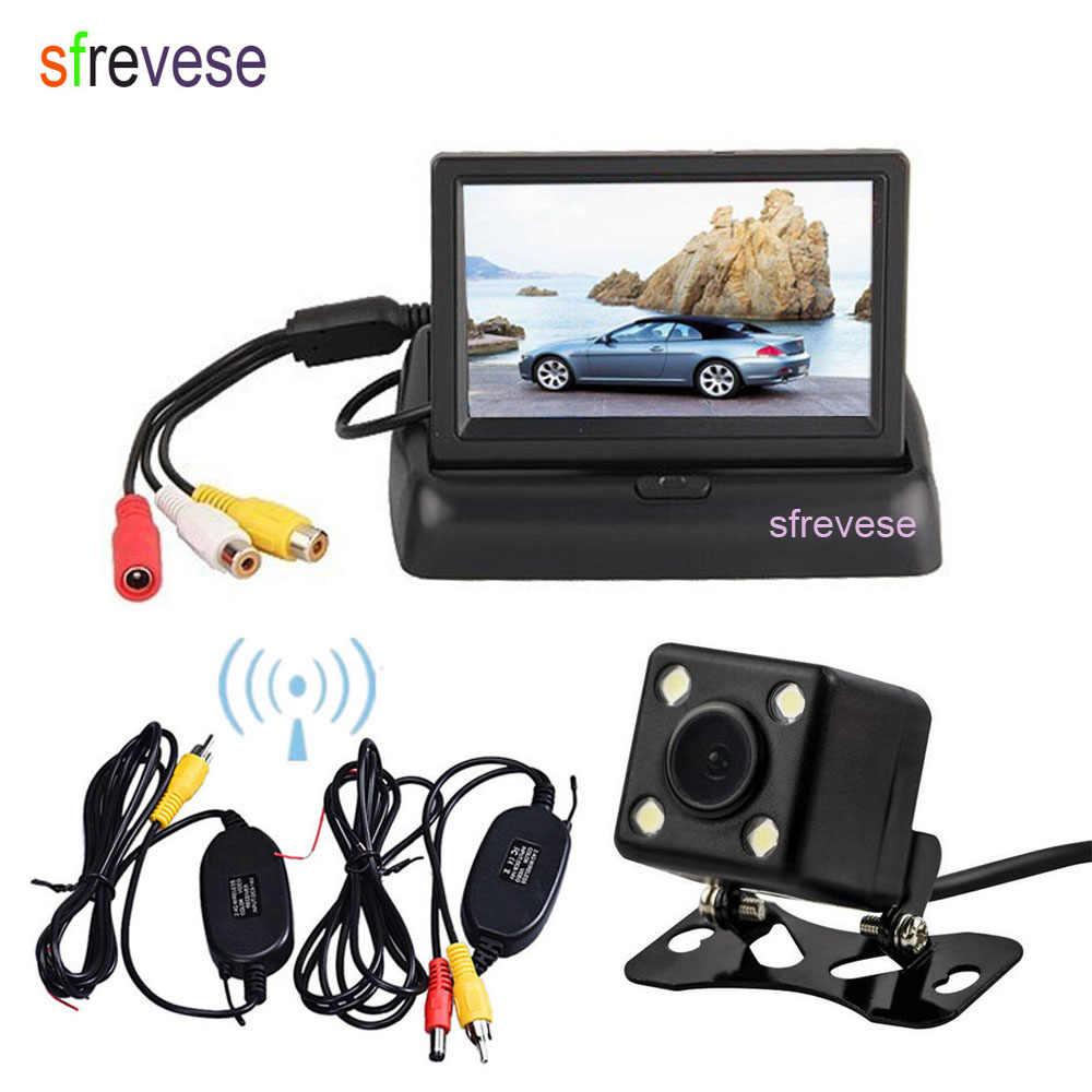 """Inalámbrico de 4 LED coche cámara de marcha atrás de respaldo + 4,3 """"LCD plegable Monitor Kit de visión trasera de coche sistema de aparcamiento"""