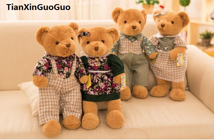 creative toy about 35cm lovers bear plush toy dressed cloth couples teddy bears soft doll Valentine's Day , proposal gift b2908 new creative cute plush bear toy big head teddy bear doll gift about 35cm