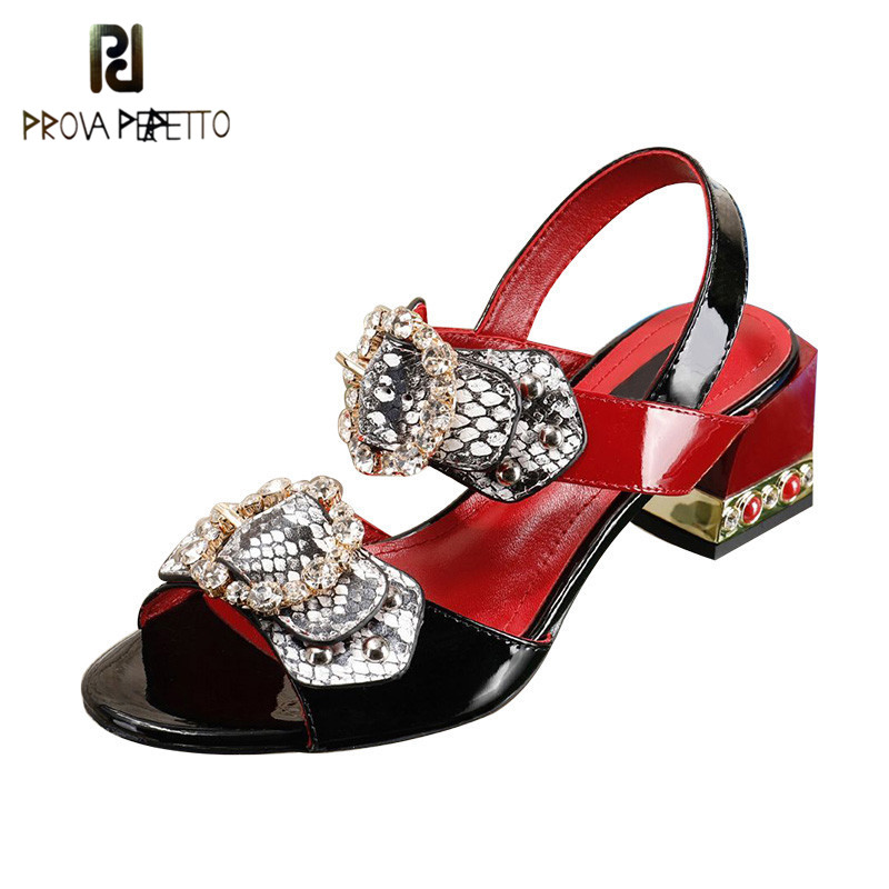 Prova Perfetto Crystal Buckle Women Sandals Square Chunky High Heels Shoes Woman Summer Ladies Sexy Party