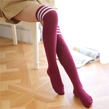 12 Colors Women's Stockings Over The Knee Socks Long Cotton Stockings Sexy For Japanese Girls Striped Long Socks Thigh High Sock