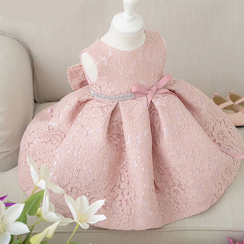 Baby Girl Dresses With Cap Super Tillbaka Bow Diamand Bälte Baby - Babykläder