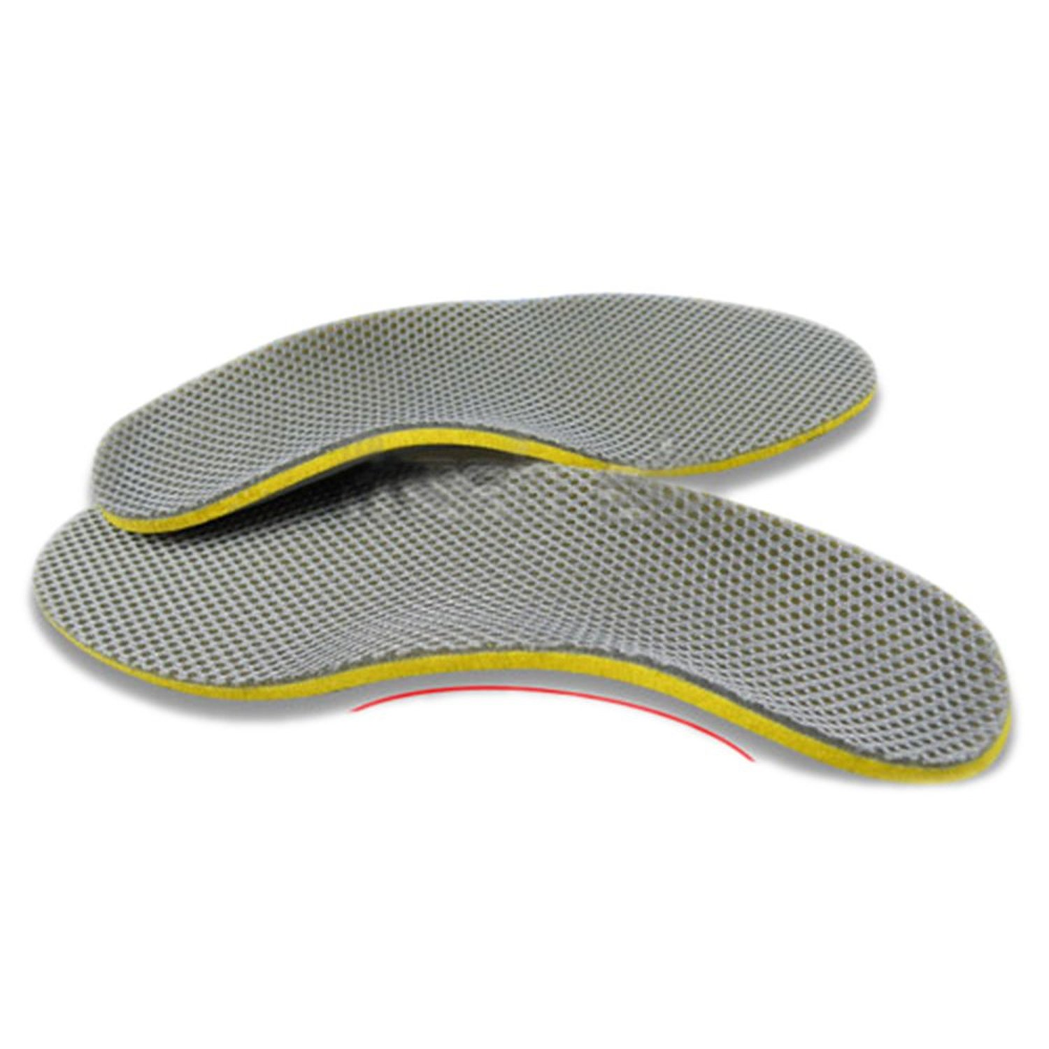 VSEN Hot StyleComfortable Orthotic Shoes Insoles Inserts High Arch Support Pad (S) yellow+Gray