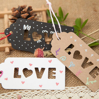 100Pcs DIY Kraft Paper Tags Love Scallop Head Label Luggage Christmas Wedding Party Note Decoration Hang