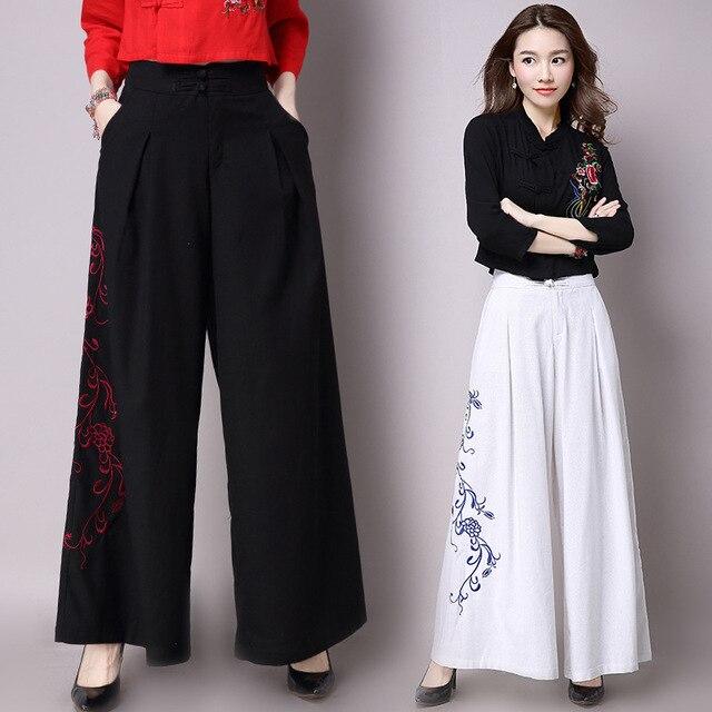Loose Linen Pants Women Summer 2017 Embroidery Wide Leg