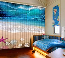 Custom Curtains beach shell stars Kids room Curtains Beautiful sea scenery Window Blackout Curtaion Printing Kitchen Curtains(China)