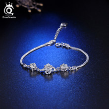 ORSA JEWELS Real 925 Sterling Silver Women Bracelets With AAA Cubic Zircon Elegant Wedding Bracelet Jewelry Bangle Gift OPSB03(China)